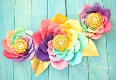 DIY Iris Unicorn Rainbow Flowers- Large Rainbow Paper Flowers | https://www.abbikirstencollections.com/2017/09/diy-iris-unicorn-rainbow-flowers-large-rainbow-paper-flowers.html