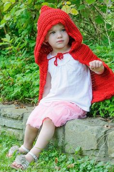 Little Red Riding Hood Cape Costume by LittleBayBlueDesigns on Etsy.  Toddler & Baby costume accessories, crochet, Kids Halloween Costume