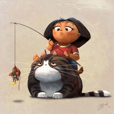 obese pet fat cat mouse on fishing pole asian girl comic humor funny photoshop illustration cartoon humor Art And Illustration, Character Illustration, Art Illustrations, Character Design Cartoon, Funny Character, Character Art, Cartoon Cartoon, Art Mignon, Funny Photoshop