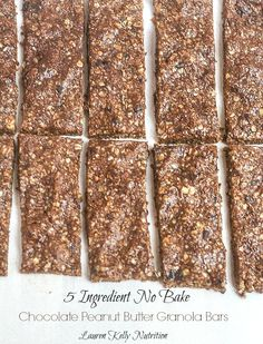 These Chocolate Peanut Butter Bars are no bake and only have 5 ingredients! From Lauren Kelly Nutrition #healthy #glutenfree