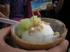 Coconut Ice Cream at Jatujak - Bangkok Thailand