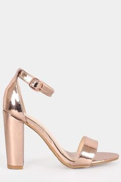 Patent One Band Ankle Strap Chunky Heel