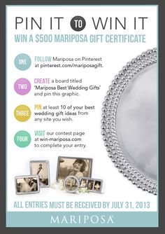 Pin It to Win It! Win a $500 Gift Certificate to Mariposa