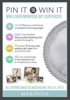 Pin It to Win It! Win a $500 Gift Certificate to Mariposa