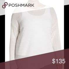 """🆕 Eileen Fisher Asymmetrical Rib Bateau Neck A bateau-neck sweater makes a lovely layering piece spun from an airy-light knit of Tencel yarns with ribbed texturing. An asymmetrical hemline keeps the look fresh. - 23 1/4"""" shortest length; 30 1/4"""" longest length (size 2X) - Bateau neck - Long sleeves - Semi-sheer; base layer shown sold separately - 100% Tencel lyocell - Dry clean or hand wash cold, dry flat Brand new with tag. Retail price $268. Eileen Fisher Sweaters"""