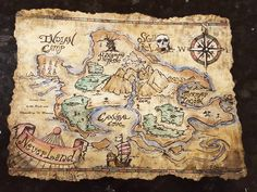 Hand Painted NeverLand Maps by CreartiveStudios on Etsy
