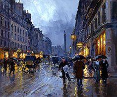 Rue de la Paix, Place Vendome in the Rain by Edouard Leon Cortes - 18 x 21 1/2 inches Signed Edouard cortes edouard cortez edouardo cortes edouardo cortez paris street scene