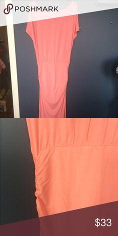 Pink floor length Dolman dress Waist cinching for a flattering blouson look.  True pink. Picture looks more coral. Victoria's Secret Dresses Maxi
