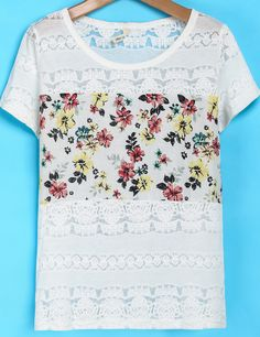 White Short Sleeve Floral Embroidered T-Shirt - Sheinside.com