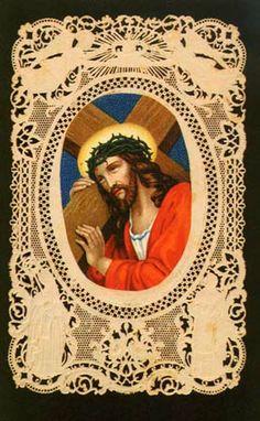 Jesús porta la Cruz.   Canivet a mano, s. XIX
