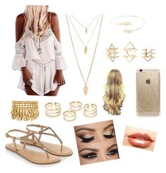 """""""summer white and gold"""" by sophie7a ❤ liked on Polyvore featuring beauty, Accessorize, Forever 21, Henri Bendel, Charlotte Russe, Rifle Paper Co and Nero Cosmetics"""