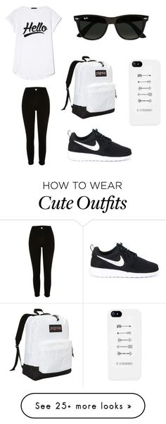 """Black/White Outfit ⚽️"" by xxfashionpassionxx on Polyvore featuring River Island, NIKE, Ray-Ban and JanSport"