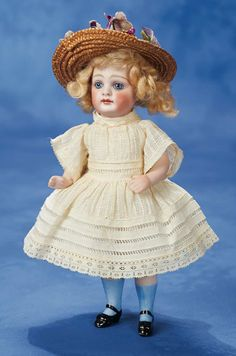German All-Bisque Doll with Dramatic Large Eyes Marks: 2 (head and torso). Comments: attributed to Kestner,circa 1885.