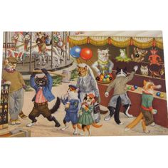 Alfred Mainzer Dressed Cats Postcard Max Kunzli Illustrated Zurich, Switzerland Cats at the Carnival