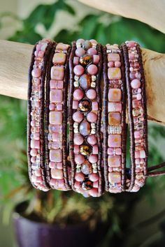 ANTIQUE  ROSE  5 Wrap Antique Brown Leather Bracelet featuring Rhodochrosite/+ more gems,Silver beads/Sterling Wheel of Dharma Button
