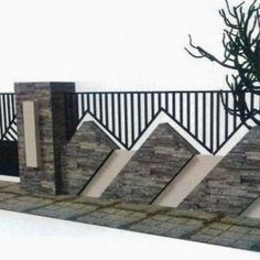 Home fence is the finishing touch of every home. It serves as the framework of your home from the outside. It is also the one responsible for securing. Compound Wall Gate Design, Fence Wall Design, Front Wall Design, Modern Fence Design, Balcony Railing Design, House Gate Design, Door Gate Design, Facade Design, Exterior Design