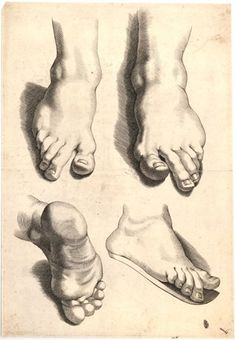 Study of four feet; unsigned; sheet 3 from a drawing book; after Peter Paul Rubens Engraving
