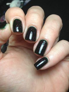 Out Of The Woods evergreen polish with scarlet by SignetNails