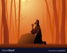 Jesus praying in gethsemane vector image on VectorStock Jesus Is Life, Jesus Christ, Jesus Artwork, Maria Goretti, Merry Christmas Poster, Bible Illustrations, Bible Verse Wallpaper, Bible Art, Trinidad