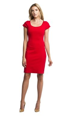 Our simple red dress with rounded neckline, natural waist and flutter short sleeves, hits just above the knee for a polished look -$229 on http://www.mkcollab.com/clothing/caroline.html  #fashion #marisakenson #style