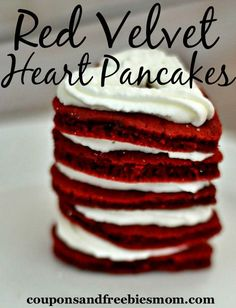 Easy Red Velvet Heart Pancakes! This delicious Red Velvet Pancakes are so simple to make! Bet you can't eat just one! :) Perfect for a Valentine's treat, or anytime! Check out how easy this is to make!