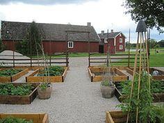 Köksträdgård i pallkragar med grus omkring