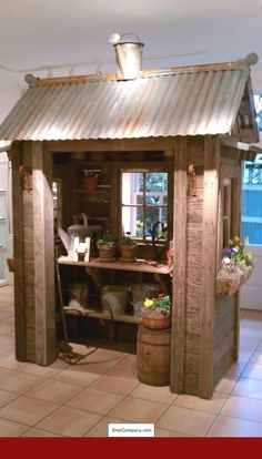 Potting shed (skip the watering can on top). Could have sturdy curtain (or, better yet, glass french doors!) to pull across opening - All About Gardens Diy Storage Shed Plans, Wood Shed Plans, Storage Sheds, Garage Plans, Barn Plans, Shed Conversion Ideas, 10x20 Shed, Shed With Porch, Glass French Doors