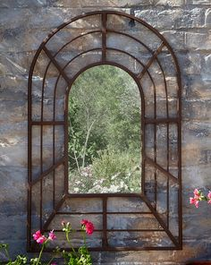 A garden mirror, whether a window mirror or rectangular mirror, is a great addition to your outdoor space – especially in small gardens – helping to bounce light into dark corners and spaces. Garden Mirrors, Garden Wall Art, Outdoor Mirrors Garden, Small Gardens, Outdoor Gardens, Patio Wall Decor, Window Mirror, Mirror Mirror, Pergola Canopy