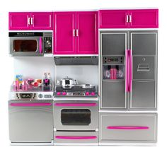 My Modern Kitchen Dishwasher Stove Refrigerator Battery Operated Toy Doll Kitchen Playset w/ Lights Sounds for inch Tall Dolls, Purple Happy Kitchen, Mini Kitchen, Toy Kitchen, Home Decor Kitchen, Pink Play Kitchen, Kitchen Design, Kitchen Playsets, Kitchen Sets For Kids, Barbie Kitchen