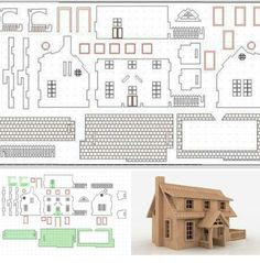 Craft project: Making a dollhouse is much like building a conventional house – it takes time and patience. While there are a lot of pieces to this challenging project, they are not overly complicated to cut and assemble. Cardboard Dollhouse, Cardboard Crafts, Modern Dollhouse, Diy Dollhouse, Miniature Furniture, Dollhouse Furniture, 3d Cuts, Woodworking Plans, Woodworking Projects