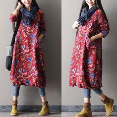 Women Print Casual Loose Cotton Dress