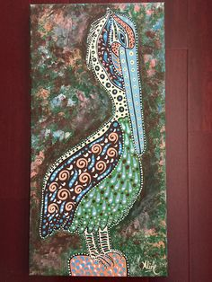 New Orleans folk art original painting pelican art visual Pelican Art, Louisiana Art, New Orleans Art, Cross Art, Dot Painting, Beach Art, Bird Art, Pet Portraits, Painted Rocks