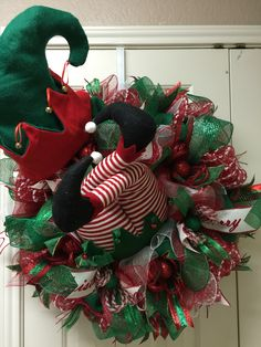 Red and green Elf crash deco mesh wreath by Twentycoats Wreath Creations Wreaths And Garlands, Deco Mesh Wreaths, Burlap Wreaths, Wreath Crafts, Diy Wreath, Wreath Ideas, Christmas Mesh Wreaths, Christmas Ornaments, Winter Wreaths