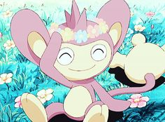 Aipom loves flowers!!!