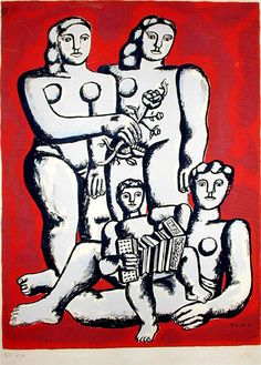 Fernand Leger - The three sisters on a red background