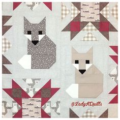 Fox quilt blocks finish at x I am FINALLY myself testing these Forest Friends quilt blocks. Cute Quilts, Lap Quilts, Small Quilts, Mini Quilts, Patchwork Quilting, Quilt Block Patterns, Quilt Blocks, Quilting Projects, Quilting Designs