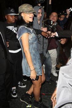 Rihanna wearing Isabel Marant Bekket High-Top Suede and Leather Sneakers