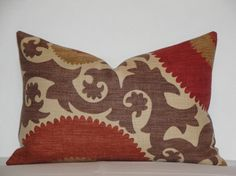 Decorative Pillow Cover- 12 x 18 - Suzani - Red - Rust - Warm Brown - Tan - Accent Pillow via Etsy