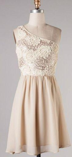 Subtle Sparkle Dress with Lace - Champagne