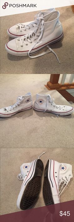 Converse shoes White converse with red accents around the bottom of the shoe. NEVER BEEN WORN. Size 10 Converse Shoes Sneakers