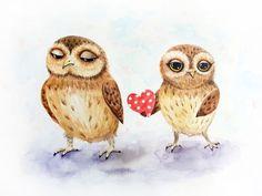 """""""Всегда люблю тебя"""" - симпатичные совы с сердце - любовь пара Совы"""