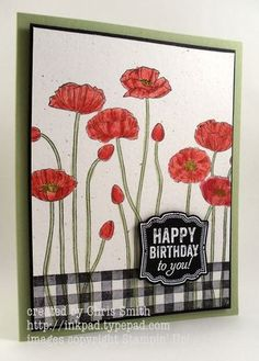 Pleasant Poppies Pop from Gingham: From My Ink Pad to Yours; Chris Smith; stampin up