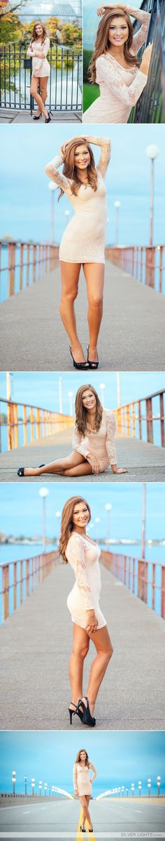 outfit (mini dress with heels) pose (standing, full length pose on pier) Portrait Photography Tips, Senior Portrait Photography, Portrait Poses, Photography Women, Senior Photos Girls, Senior Girl Poses, Senior Girls, Senior Session, Female Senior Portraits
