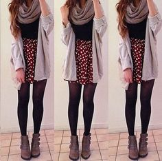 super cute hipster fashion with floral skirt and cardigan and comfy scarf