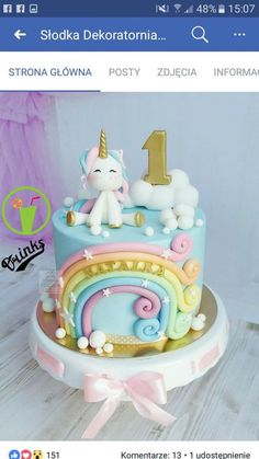 New unicorn birthday cake kids ideas - # unicorn cake cake . - New birthday cake unicorn kids ideas - Unicorn Themed Birthday, Baby Birthday Cakes, Unicorn Party, Birthday Cake For Kids, Birthday Ideas, 17th Birthday, Disney Birthday, Aniversario Peppa Pig, Unicorn Cake Topper