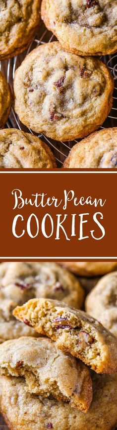 Buttery, soft 'n chewy cookies exploding with toasted pecans and brown sugar flavor! Recipe on sallysbakingaddiction.com