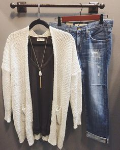 A cozy N E W arrival for these chilly spring days ➳JUST IN at both boutiques. #shophoitytoity Cream Chunky Knit Cardigan $48 Charcoal V-Neck Dolman $32 Big Star Slim Boyfriend $118 Grey & Gold Fringe Stone Necklace $24  Shop in stores or CALL to order! 360.217.7684 S & 360.716.2982 M