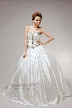 Ball Gown Beaded Bodice Floor Length Satin Sweetheart Gown Style 5552