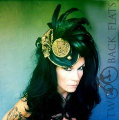 Black and Gold Steampunk Victorian Hat Headpiece Tricorn : Leanor- READY TO SHIP. $125.00, via Etsy.