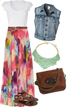 Maxi Skirt Easter Outfit by kelseythesinger on Polyvore- minus the jean jacket